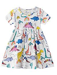 cheap -Kids Little Girls' Dress Dinosaur Animal Shift Dress Causal Print White Knee-length Short Sleeve Casual Dresses Summer Regular Fit 3-10 Years