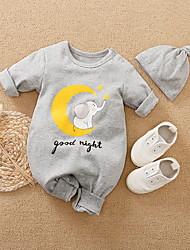 cheap -Baby Boys' Romper Basic Cotton Gray Letter Animal Print Long Sleeve / Fall