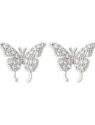 cheap -fairy full of girly heart, exquisite diamond-studded mini temperament butterfly 925 sterling silver custom earrings ear bone clip