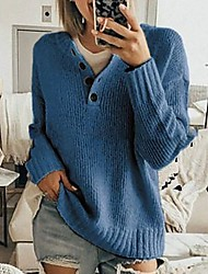 cheap -Women's Pullover Sweater Jumper Knitted Solid Color Stylish Basic Casual Long Sleeve Sweater Cardigans V Neck Fall Winter caramel colour Blue Yellow / Loose
