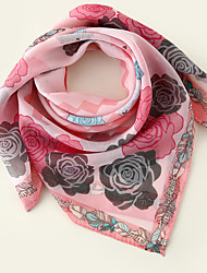 cheap -Women's Square Scarf Party Pink Scarf Floral Chiffon Fall Spring Color Block
