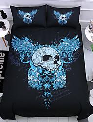 cheap -Skull Comforter Bedding SetBlue angel wings Skull Bedding Sets with Comforter Boys 3 Piece Ghost Skeleton Bed SetTwin Full Queen King Size(1 Duvet Cover Set  2 PillowShams)