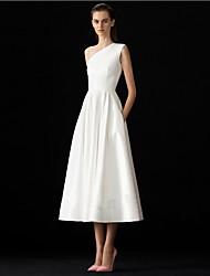 cheap -A-Line Wedding Dresses One Shoulder Tea Length Spandex Sleeveless Simple with Pleats 2021