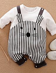 cheap -Baby Boys' Basic Striped Animal Print Long Sleeve Romper Yellow White