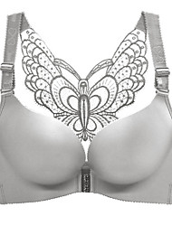 cheap -Women's Plus Size Butterfly Push-up 3/4 Cup Bra Black Red Wine Big Size US34A / FR90A / INT75A US34B / FR90B / INT75B US34C / FR90C / INT75C US34D / FR90D / INT75D US36A / FR95A / INT80A