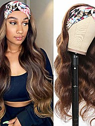 cheap -Headband Wig Long Body Wavy Wig Suitable For Women 24 Inches Non-adhesive Gradient Brown Wig With Hairband Machine Made Synthetic High Heat-resistant Fiber Black Brown Synthetic Headband Wig