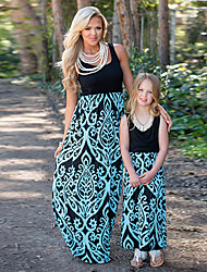 cheap -Solid Stitching Printed Sleeveless Dresses for Mommy and Me