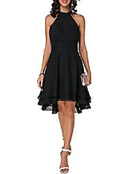 cheap -A-Line Flirty Empire Engagement Cocktail Party Dress Halter Neck Sleeveless Knee Length Chiffon with Sleek Tier 2021