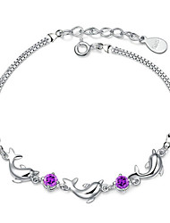 cheap -weihua korean jewelry dolphin amethyst silver plated bracelet for girlfriend birthday gift special factory wholesale