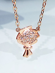 cheap -Women's Clear AAA Cubic Zirconia Pendant Necklace Handmade Flower Artistic Unique Design Elegant Brass Rose Gold 50 cm Necklace Jewelry 1pc For Anniversary Gift Birthday Party Beach Festival