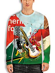 cheap -Men's Unisex Tee T shirt Shirt 3D Print Graphic Prints Guitar Print Long Sleeve Daily Tops Casual Designer Big and Tall Blue