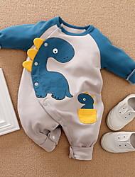 cheap -Baby Boys' Basic Dinosaur Animal Print Long Sleeve Romper Blue