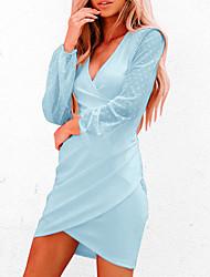cheap -Women's Sheath Dress Short Mini Dress Blue Red Wine Black Apricot Long Sleeve Yarn Dyed Dot Spring Summer V-Front Cross-Front Daily 2021 S M L XL