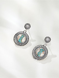 cheap -accessories inlaid two-tone turquoise earrings retro round boho earrings