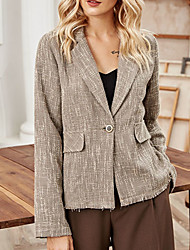 cheap -Women's Coat Daily Fall Regular Coat Regular Fit Warm Casual Jacket Long Sleeve Plaid / Check Patchwork Beige