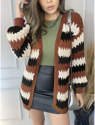cheap -Women's Sweater Knitted Striped Casual Long Sleeve Sweater Cardigans V Neck Fall Winter Spring Blue Purple Green