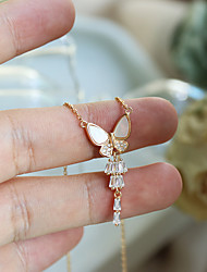 cheap -yongcheng whole body 925 silver natural shell butterfly necklace temperament exquisite retro simple light luxury niche clavicle chain