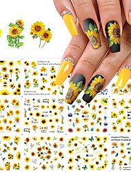 cheap -12 Pcs/set Sunflower Nail Stickers Nail Art Water Decal Transfer Foil Suitable for Nail Supply Watermark Small Daisy Flower Design Nail Tattoo Suitable for Female Nail Supplies Nail Art Decoration