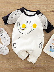 cheap -Baby Boys' Romper Basic Cotton Beige Animal Print Long Sleeve / Fall