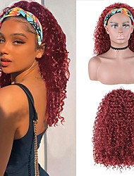 cheap -halloweencostumes Curly Black Wig With Headband Wigs Are Suitable For Women With Curly Hair African Wigs  Hair Wet Wavy Hairband Wig Synthetic Connection Adjustable Black Headband