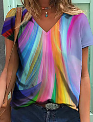 cheap -Women's Floral Theme Abstract Painting T shirt Rainbow Floral Graphic Print V Neck Basic Tops Blue Purple Red