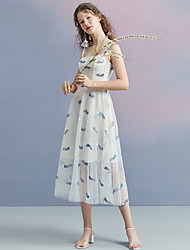 cheap -A-Line Elegant Floral Homecoming Cocktail Party Dress Spaghetti Strap Sleeveless Tea Length Tulle with Pleats Pattern / Print 2021