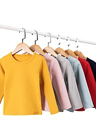 cheap -Kids Unisex T shirt Long Sleeve Solid Color Warm single top gray Warm single top powder Warm single top red Cotton Children Tops Winter Casual / Daily School Daily Wear