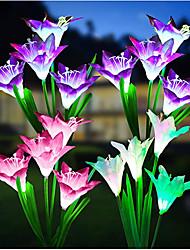 cheap -Lily Flower Outdoor LED Solar Light RGB Color 2pcs 4 Head Lily Garden Flower Waterproof Decorative Lamp 600AMH Solar Power Yard Lawn Path Wedding