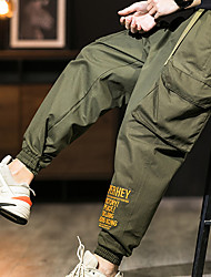 cheap -Men's Stylish Sporty Cargo Casual / Sporty Streetwear Comfort Breathable Sports Pants Chinos Daily Sports Pants Letter Full Length Pocket Elastic Waist Multiple Pockets Grey Green Black