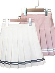 cheap -Kids Girls' Skirt 1 PC Blushing Pink Gray Black Striped Pleated Cute Above Knee, Mini 3-12 Years