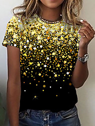 cheap -Women's Abstract Painting T shirt Galaxy Graphic Print Round Neck Basic Tops Blue Purple Yellow