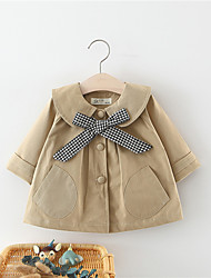cheap -Baby Girls' Jacket & Coat 1pc Long Sleeve Blushing Pink khaki Plaid Solid Color Ribbon bow Cotton School Daily Wear Casual Daily 1-4 Years