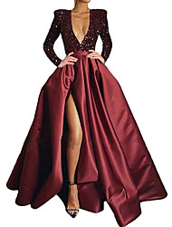 cheap -A-Line Sparkle Sexy Party Wear Formal Evening Dress V Neck Long Sleeve Court Train Sequined Velvet with Sequin Split 2021