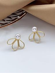 cheap -s925 silver needle korean temperament simple clover petal pearl earrings sweet minimalist girl earrings c833