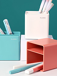 cheap -Plastic Multi Function Pot Table Storage Box Organizer Student Pen Bucket  Pen&Pencil Holder Divided Storage Box Plant Pot Box8.4x8.4x8.6cm 1 pcs assorted color