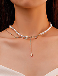 cheap -Pearl Choker Necklace Patchwork Heart Dainty Romantic Fashion European Imitation Pearl Zircon Alloy Gold 40 cm Necklace Jewelry For Party Evening Street Prom Birthday Party Festival