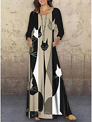 cheap -Women's Shift Dress Maxi long Dress Black 3/4 Length Sleeve Cat Animal Print Spring Summer Round Neck Casual Holiday 2021 S M L XL XXL 3XL