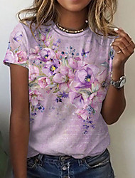 cheap -Women's Abstract Painting T shirt Floral Graphic Print Round Neck Basic Tops Blushing Pink