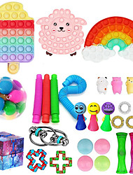 cheap -30PCS Push Bubble Pop Fidget Sensory Toy Colorful Push It Popping Silicone Game Toy Anxiety Stress Reliever Autism Learning Materials for Kids Children Adults