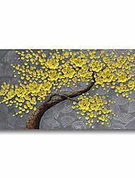 cheap -Oil Painting Handmade Hand Painted Wall Art Plant Flowers Yellow Blossom 3D Palette Knife Home Decoration Decor Stretched Frame Ready to Hang