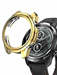 cheap -screen protector case compatible with ticwatch pro 3,ultra-thin soft tpu plated bumper case cover protective shell smartwatch accessories for ticwatch pro 3 (gold)
