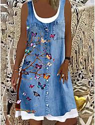 cheap -Women's A Line Dress Knee Length Dress Blue Sleeveless Floral Butterfly Animal Print Spring Summer Boat Neck Casual 2021 S M L XL XXL 3XL