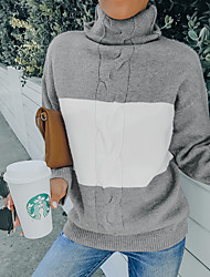 cheap -Women's Pullover Sweater Co-ords Pure Color Color Block Casual Long Sleeve Sweater Cardigans High Neck Fall Spring Fog blue A large number of trendy hot products can be purchased with Light Gray