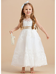 cheap -A-Line Ankle Length Flower Girl Dresses Party Tulle Sleeveless Jewel Neck with Bow(s)