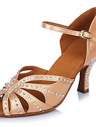 cheap -Women's Latin Shoes Salsa Shoes Professional Heel Crystal / Rhinestone Cuban Heel Open Toe Dark Brown Black Beige Buckle Ankle Strap Adults' Glitter Crystal Sequined Jeweled