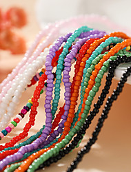 cheap -Women's Girls' Choker Necklace Beaded Necklace Handmade Dainty Colorful Fashion European Imitation Pearl Blue Purple Blushing Pink Green Rainbow 40-48 cm Necklace Jewelry 1pc For Wedding Party