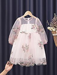 cheap -Kids Little Girls' Dress Flower Tulle Dress Wedding Embroidered Blushing Pink White Tulle Knee-length Long Sleeve Princess Sweet Dresses Summer 4-13 Years