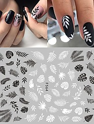 cheap -8 Pcs/set Leaf Flower Nail Sticker Decals 3D Self-adhesive Black And White Vintage Vine Rose Flower Butterfly Nail Design Suitable For Acrylic Nail Products Stylish And Simple DIY Nail Decoration Tools