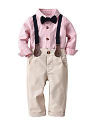 cheap -Kids Boys' Shirt & Pants Long Sleeve Stripes Light Blue Blushing Pink Cotton Children Tops All Seasons Suits Event / Party