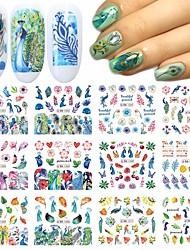 cheap -12 Pcs/set Small Sheets of Butterfly Nail Stickers Butterfly Nail Art Decal Stickers Butterfly Flower Design Stickers Holographic Butterfly Nail Art Nail Art nail Transfer Skills Nail Art DIY Nail
